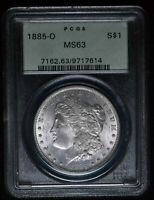 1885-O U.S. $1 - MORGAN SILVER DOLLAR GREEN HOLDER - PCGS MINT STATE 63