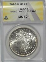 1887-O $1 ANACS MINT STATE 62 REPUNCHED DATE RPD MORGAN SILVER DOLLAR VAM-2 COIN