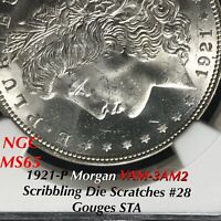 1921-P MORGAN VAM-3AM2 SCRIBBLING DIE SCRATCHES 28 GOUGES STA FINEST NGC MINT STATE 65
