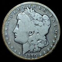 1879-CC $1 MORGAN SILVER DOLLAR  VG  GOOD DETAILS  CAPPED DIE TRUSTED