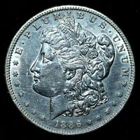 1886-S $1 MORGAN SILVER DOLLAR  AU ALMOST UNC DETAILS  CLEANED  TRUSTED