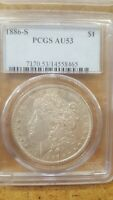 PCGS 1886-S AU 53 MORGAN DOLLAR