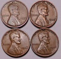 1934 P 1935 P 1936 P 1937 P LINCOLN WHEAT CENT PENNY - 4 COINS - SHIPS FREE
