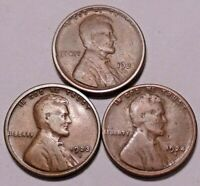 1921 S 1923 S 1924 S LINCOLN WHEAT CENT PENNY -  3 COINS  - SHIPS FREE