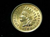 1906 1C INDIAN HEAD CENT   UNC W/ REPUNCHED DATE  FS 303 100