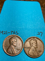 1921-S & 1921-P LINCOLN WHEAT CENT SET,  HIGH GRADE CONDITION COINS, SET 27
