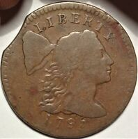 1795 LIBERTY CAP LARGE CENT FINE F S-76B VARIETY EARLY COPPER 1C TYPE COIN