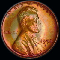 1952 D   LINCOLN WHEAT CENT    UNC, TONED 1.150