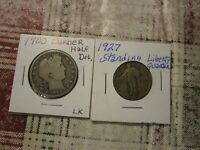 LOT OF 2 US MINT SILVER COINS  [ 1900 P BARBER HALF    1927