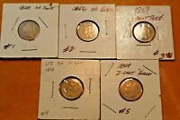 LOT OF 5 RECONSTRUCTION ERA 3 CENT NICKELS 150 YEARS OF US H
