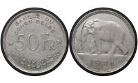 50 FRANCS 1944 BELGIAN CONGO SILVER COIN // ELEPHANT LOPOLD III //  27 FROM 1$