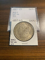 1887-S/S VAM 2 MORGAN SILVER DOLLAR $1 CHOICE ALMOST UNCIRCULATED CH.AU S OVER S