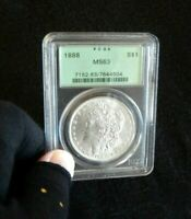 P/Q. PCGS 1888-P MINT STATE 63- MORGAN SILVER DOLLAR  COIN  LUSTER.