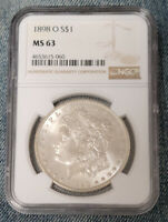 1898-O MORGAN SILVER DOLLAR. $1. MINT STATE 63 NGC GRADED.  MINT STATE COIN S$1