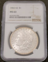 1882-CC MORGAN SILVER DOLLAR $1. MINT STATE 63 NGC GRADED MINT S$1 COIN. UNIQUELY TONED