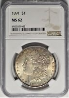 1891 $1 NGC MINT STATE 62 CHOICE UNCIRCULATED UNC MORGAN SILVER DOLLAR TYPE COIN 1