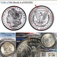 1921 D MORGAN VAM-1J DIE BREAK A, CUD AT UNITED, PCGS MINT STATE 64 FINEST LISTED MDS