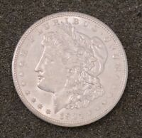 1921-D MORGAN SILVER DOLLAR. $1. EXTRA FINE  AU.  S$1 COIN, LABELED MINT