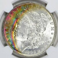 1883 O MORGAN DOLLAR NGC - MINT STATE 62 STAR - RAINBOW CRESCENT TONING ON OBVERSE