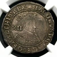 NGC VF 35 STAURT JAMES I SHILLING SON OF MARY QUEEN OF SCOTS ENGLAND SILVER COIN