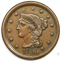 1855 N 2 R 2 UPRIGHT 55 BRAIDED HAIR LARGE CENT COIN 1C