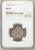 1758 UNC GEORGE II SHILLING GREAT BRITAIN UNCIRCULATED COIN NGC MS62