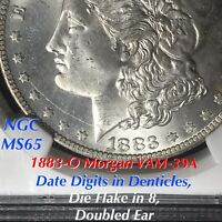 1883-O MORGAN VAM-39A DATE DIGITS IN DENTICLES, DIE FLAKE IN 8, NGC MINT STATE 65 FINEST