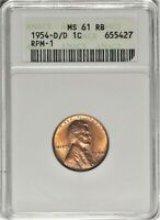 1954-D/D/D 1C ANACS MINT STATE 61 RB UNCIRCULATED RPM-1 FS-501 LDS LINCOLN CENT COIN
