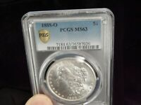 P/Q. PCGS 1888-O MINT STATE 63 MORGAN SILVER DOLLAR  COIN  LUSTER. GOLD SHIELD