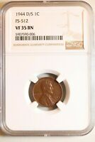 1944-D/S FS-512 LINCOLN WHEAT CENT - NGC VF35 BN 90006