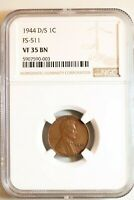 1944-D/S FS-511 LINCOLN WHEAT CENT - NGC VF35 BN 90003