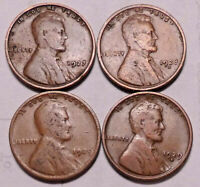 1927 P 1928 D 1929 P 1929 D LINCOLN WHEAT CENT PENNY - 4 COINS - SHIPS FREE