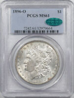 1896-O MORGAN DOLLAR - PCGS MINT STATE 61 CAC APPROVED, PREMIUM QUALITY POP 11 IN CAC