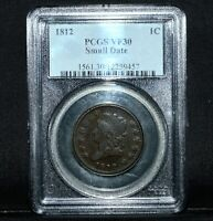 1812 CLASSIC HEAD LARGE CENT  PCGS VF-30  1C SMALL DATE  FINE TRUSTED