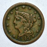 1849 BRAIDED HAIR HALF-CENT  VF  FINE  1/2C  NOW TYPE COIN TRUSTED