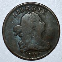 1805 DRAPED BUST HALF CENT  VG  GOOD DETAILS  SMALL 5 WITH STEMS TRUSTED