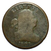 1803 DRAPED BUST HALF CENT  VG  GOOD   DATE  NOW TRUSTED
