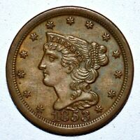 1853 BRAIDED HAIR HALF CENT  UNCIRCULATED UNC DETAILS  1/2C CLEANED TRUSTED