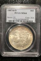 1887/6-O S $1 MORGAN SILVER DOLLAR PCGS MINT STATE 64 SERIES: 52 COIN: 36AVAM-3 TOP 100