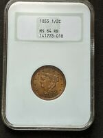 1855 BRAIDED HAIR HALF CENT NGC MINT STATE 64 RB