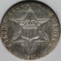 1861 THREE CENT SILVER NGC MINT STATE 63