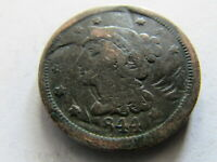 1844 BRAIDED HAIR LARGE CENT PHILADELPHIA 1C EARLY AMERICAN COPPER COIN PENNY
