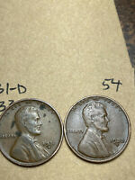 1931-D, 1933-D LINCOLN WHEAT CENT SET, 2 COINS, TOUGH DATES, 54