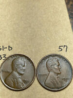1931-D, 1933-D LINCOLN WHEAT CENT SET, 2 COINS, TOUGH DATES, 57