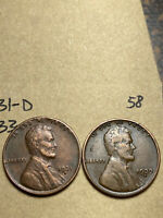 1931-D, 1933-D LINCOLN WHEAT CENT SET, 2 COINS, TOUGH DATES, 58