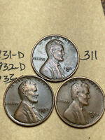 1931-D,1932-D,1933-D LINCOLN WHEAT CENT SET, 3 COINS, TOUGH DATES, 311