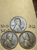 1931-D,1932-D,1933-D LINCOLN WHEAT CENT SET, 3 COINS, TOUGH DATES, 312