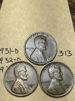 1931-D,1932-D,1933-D LINCOLN WHEAT CENT SET, 3 COINS, TOUGH DATES, 313