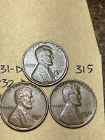 1931-D,1932-D,1933-D LINCOLN WHEAT CENT SET, 3 COINS, TOUGH DATES, 315