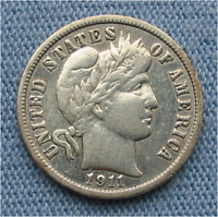 1911 S BARBER DIME 10C CLEANED/POLISHED